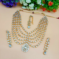 Gold Plated Bollywood Style Golden CZ Pearl Necklace Earrings Tikka Bridal Set