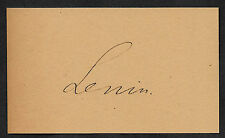 Vladimir Lenin Autograph Reprint On Genuine Original Period 1917 3X5 Card