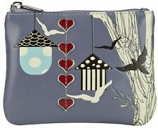 Fashion Designer Anna Nova Birds & Hearts Ladies Coin Purse PURPLE - Brand New