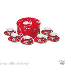 CHRISTMAS 6 Cup & Saucer Espresso Coffee Gift Set - Santa & Rudolph Xmas 12PC
