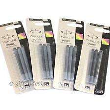 12 PARKER Quink Ink Cartridges - Black Colour - Fits All Parker Fountain Pens