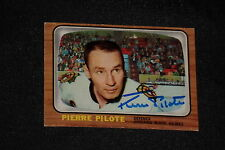 HOF PIERRE PILOTE 1966-67 TOPPS SIGNED AUTOGRAPHED CARD #59 BLACK HAWKS