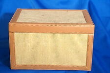 Corduroy and Leatherette Light Brown and Beige Sewing  Box 9 X 5 X 7