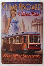 """Plaque Métal Tôlée Vintage Pin-Up Train """"CLIM ABOARD"""" 20 X 30 cm Neuf Emballé"""