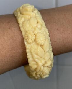 Vintage Carved White Cream Ivory Celluloid Bangle Bracelet Flowers Rose Design