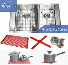 """Ariel 32"""" 15mm Radius Stainless Steel Double 60/40 Bowl Kitchen Sink Combo 16G"""