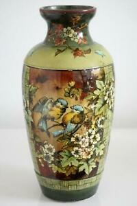 Doulton Lambeth Faience Vase - Panels Of Blue Tits - Isabel Lewis - c.1881