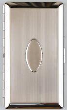 Zigarettenetui mit Spiegel nickel poliert/Längsstreifen 120 mm 9er mit Bügel NEU