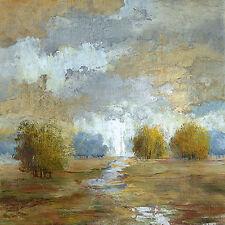 Nan: Lush Meadow I Fertig-Bild 30x30 Wandbild Bäume Landschaft Felder Wolken