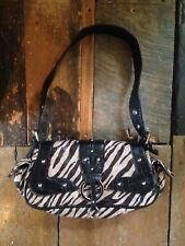 Rockabilly retro look brown tiger animal print faux leather purse hand bag