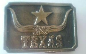 Texas Longhorn Brass Belt Buckle made in hong kong new vintage