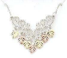 Coleman Black Hills Gold on Sterling Silver Necklace w 12K Gold Leaves