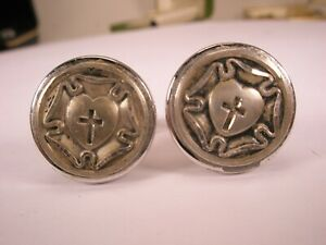 -Luther Rose Vintage ANSON Cuff Links cross heart seal