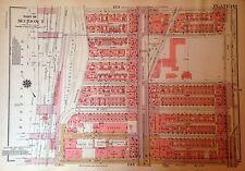 1955 HARLEM MORNINGSIDE HEIGHTS CCNY MANHATTAN NYC G.W. BROMLEY ATLAS MAP 12 X17