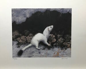 """Randy FEHR """" Weasel """" Limited Edition art print mint condition SIGNED Ermine"""