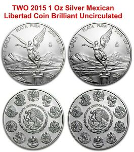 LOT 2 2015 TROY oz fine .999 Silver Mexican Libertad COIN key date LOW MINTAGE