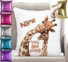 Personalised Giraffe Cushion Cover - Sequin Mermaid Pillow