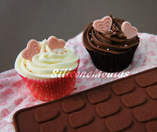 HEART Hearts Chocolate Candy Silicone Cake Cupcake Mould Button Wax Melt Embed