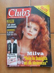 MILVA COVER RARA RIVISTA CLUB 3 N.2 / 1993 SANREMO POOH OXA BATTISTI ARBORE