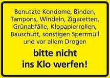 NICHT INS KLO WERFEN FUNSCHILD - 10x15 cm Blechkarte Blechschild 15037