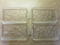 4 Vintage Glass Appetizer Snack Tray Anchor Hocking Colonial Lady Circles Deco