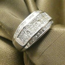 14K White Gold 60 Princess Cut Diamonds Invisible Set Men's Ring 1.25 Ct's H VS