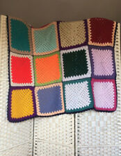 Lovely Handmade Traditional Vintage Bright Multi Granny Square Crochet Blanket
