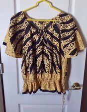 Yellow & Black Animal Print Blouse - Wide Fan S/S - Drawstring Waist - M/L