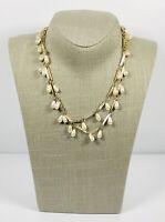 Vintage Necklace Gold Tone Links & Faux Pearl Teardrops Elegant Pretty Costume