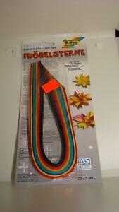 Papierstreifen für Fröbelsterne 130 g/m²;100 Streifen Farbig sortiert 35cm x 1cm