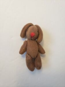 """Miniature Handmade Brown Bunny Rabbit Jointed Mini Plush Red Nose - 2.75"""" Long"""