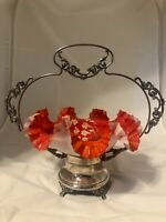 Beautiful Antique Victorian art Glass Brides Basket silverplate Ruffled Edge red