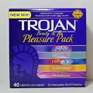 TROJAN Pleasure Pack 40 Assorted Premium Latex Condoms 40 Count
