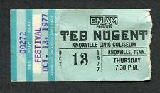 1977 Ted Nugent Nazareth concert ticket stub Knoxville Cat Scratch Fever