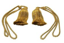 Pair Of Extra Large Luxury Tassle Rope Fringed Curtain Tiebacks Gold