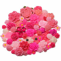 PINK SET Resin Flatback Flower Rose Cabochon Craft Embellishments Decoden Gems