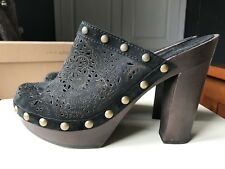 ASH 'Spicy' Ladies Ankle High Heel Shoe Black Wooden Clog Shoe Sandal Size 7 40
