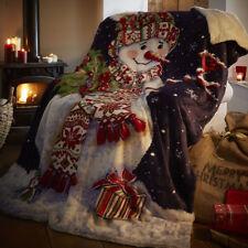 Snowman Throw Soft Fleece Bed Sofa Blanket Throwover 130 x 170cm Christmas