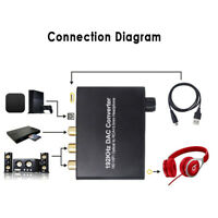 DAC Digital Optical Toslink Coaxial to Analog Audio Converter Adapter L/R RCA -*
