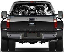 Demon Grim Reaper Skulls Fire Ver-2 B/W  Rear Window Graphic Decal Truck SUV Van
