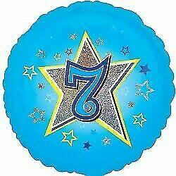 Age Seven Blue Foil Balloon 18''
