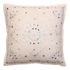 Decorative Mirror Cushion Cover Indian Embroidered Cotton Pillow Case Cover 16""