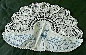 STUNNING  VINTAGE PEACOCK CROCHET DOILY with HAND EMBROIDERY