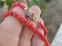 """ANTIQUE VINTAGE ART DECO CARVED UNDYED RED CORAL BEAD NECKLACE  17"""" 16.22g"""