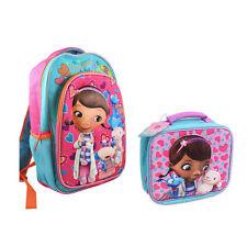 "Backpack 16"" + Lunch Bag Tote Pop Out 3D Disney Doc McStuffins New"
