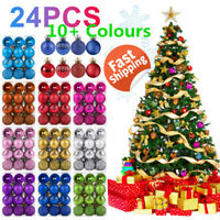 24Pcs Glitter Christmas Ball Baubles Xmas Tree DIY Hanging Ornament Home Decor@