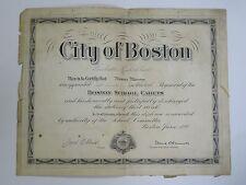RARE 1922 CITY OF BOSTON BOSTON SCHOOL CADETS 1st LIEUTENANT CERTIFICATE