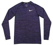 Nike Dri-Fit Knit Long Sleeve Running Top Shirt Purple Black DRY Large