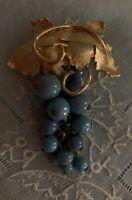 Vintage Gilt Golden Blue Glass Bead Leaf Brooch w Pendant Clasp