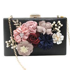 Women Handheld Flower Pearl Satin Bag Fashion Clutch Bride Evening Party Handbag